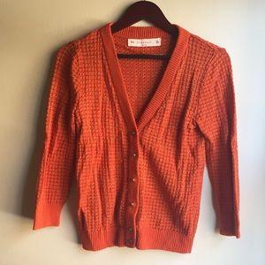 ZARA KNIT Orange & Gold Cardigan Sweater Size L